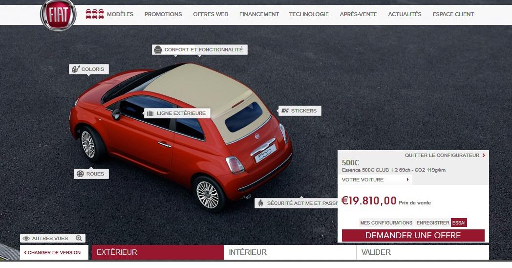 configurateur fiat 500cen voiture carine en voiture carine. Black Bedroom Furniture Sets. Home Design Ideas