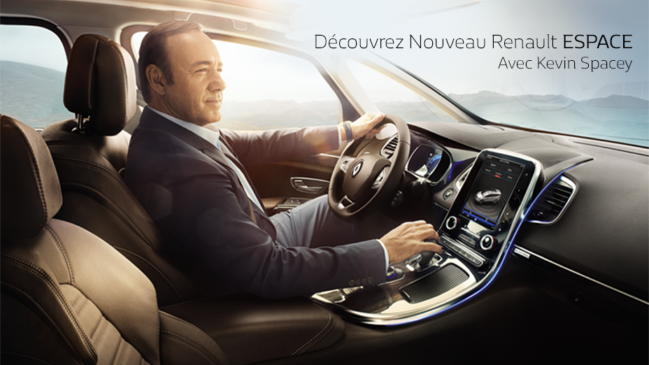 kevin spacey ambassadeur de la renault espace si si en voiture carine en voiture carine. Black Bedroom Furniture Sets. Home Design Ideas