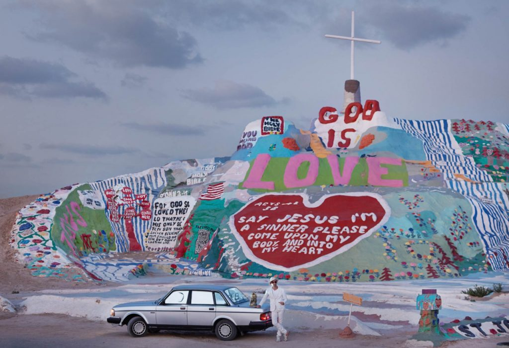 Chad Attie and his 1989 Volvo 240 Salvation Mountain Niland