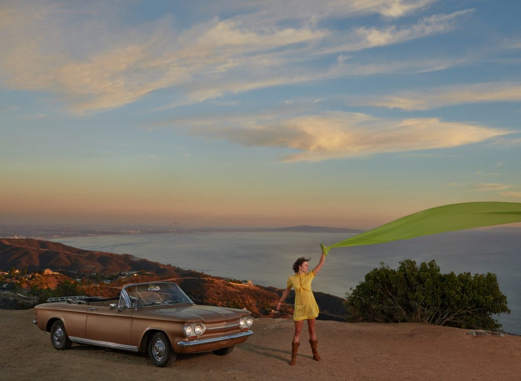 Emily Caldwell with her 1963 Chevy Corvair Malibu California