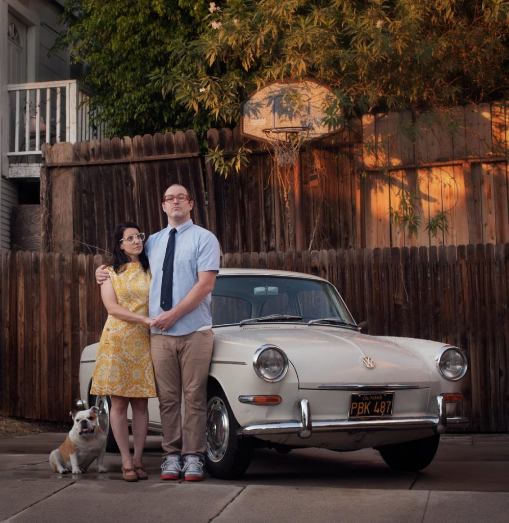 Emily Shur Isac Walter and the Baroness with their 1964 Volkswagen 1500s Notchback Echo Park Los Angeles