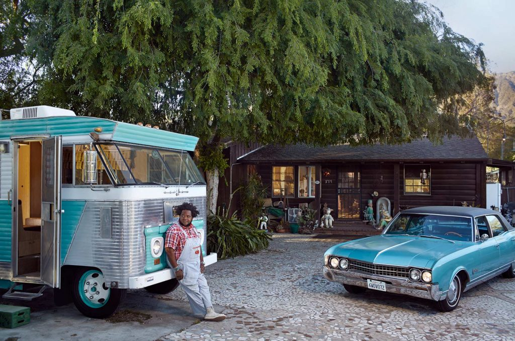 John Agnew and his 1966 Oldsmobile 98 and his 1964 Ford Condor at home in Altadena California