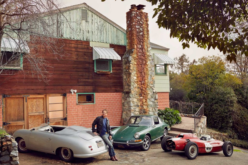 Matt Hummel with his 1952 Porsche 356 Cabriolet 1966 Porsche 912 and 1964 Beach Formula Vee Auburn California